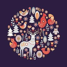 """'Seamless pattern with winter forest, deer, owl and Fox. The Scandinavian style. ' Framed Print by Skaska - """"Seamless pattern with winter forest, deer, owl and Fox. The Scandinavian style. """" Framed Art P - Art And Illustration, Christmas Illustration, Illustrations, Scandinavian Folk Art, Scandinavian Christmas, Scandinavian Pattern, Jigsaw, Guache, Christmas Art"""