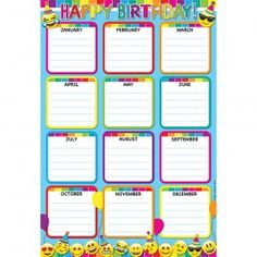 Ashley Productions - Emoji Birthday Smart Poly Chart on sale now! Get huge savings on all of your teacher supplies at DK Classroom Outlet. Classroom Bulletin Boards, Classroom Rules, Classroom Activities, Classroom Decor, Birthday Chart Classroom, Birthday Charts, Dry Erase Wall Calendar, Kindergarten Anchor Charts, The Learning Experience