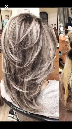 Women Hairstyles Layers 37 Ideas Hair Color Blonde With Lowlights Layered Cuts.Women Hairstyles Layers 37 Ideas Hair Color Blonde With Lowlights Layered Cuts Gray Hair Highlights, Hair Color Balayage, Blonde Color, Ombre Hair, Hair Dye, Haircolor, Medium Hair Styles, Curly Hair Styles, Brown Blonde Hair