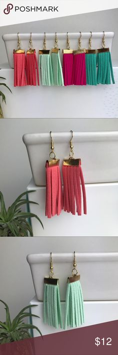 "Fringe Tassel Earrings Fringe Tassel Earrings add a fun, summery hint of color to any outfit. Fishhooks stay in place and are 18K plated gold, Nickel Free. Around 3"" in total length. Faux Suede. Bundle to save 20% off! No trades. Arrive to you attached to a card in a mini cloth jewelry bag. Jewelry Earrings"
