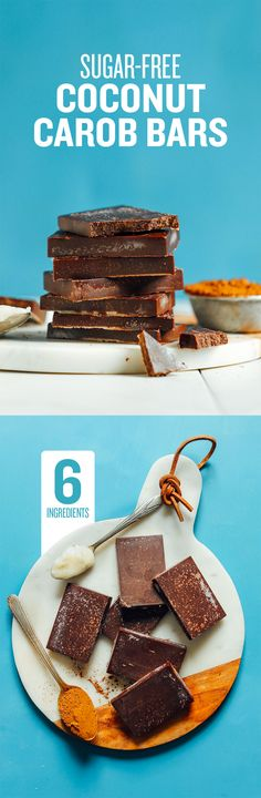 These Sugar-Free Coconut Carob Bars only require 6 ingredients, with no sweetener or sugar added, but still has big chocolaty flavor! Healthy Sweet Treats, Vegan Treats, Healthy Sweets, Healthy Food, Vegan Food, Healthy Meals, Healthy Eating, Sugar Free Desserts, Vegan Desserts