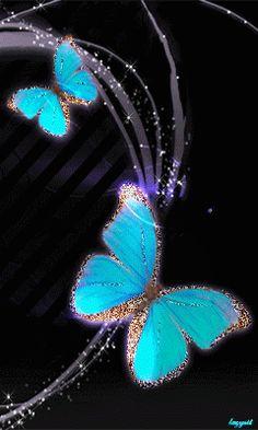 Бирюзово-золотые бабочки
