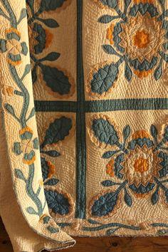 Antique Handmade SQUASH BLOSSOM Applique Quilt Blue Cheddar Border Feedsack | eBay