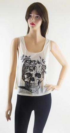 Skull Flowers Skull Art Design Art Fashion Skull by sinclothing, $15.99
