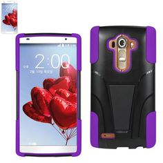Reiko Silicon Case+Protector Cover For LG G4 LG H815/ LG F500L New Type Kickstand Purple Black