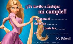Princesa Rapunzel - Tarjetas de cumpleaños para imprimir Tangled Party, Paper Dolls, Ideas Para, Aurora Sleeping Beauty, Happy Birthday, Disney Princess, Fiestas Party, Alba, Baby Cards