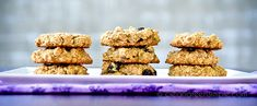 Oatmeal Cookies  •••••••••••••••••••••••••••••••••••••••••••••••   Ingredients:    1 1/2 cups uncooked rolled oats,      3/4 cups All-Purpose GF Flour,      1/4 tsp cinnamon,      1/4 tsp baking soda,      pinch salt,      1/2 cup maple syrup,      1/4 cup safflower, canola, or other neutral oil,      1/4 tsp vanilla,      1 Tbsp ground flaxseed,      About 3/4 of a medium banana,      1/2 cup raisins (optional - you could also add nuts or chocolate chips)