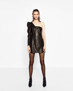 Image 2 of ASYMMETRIC LEATHER-EFFECT DRESS from Zara