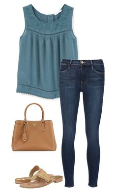 """""""Looong Busy Saturday!"""" by sc-prep-girl ❤ liked on Polyvore featuring MANGO, Frame Denim, Jack Rogers and Prada"""