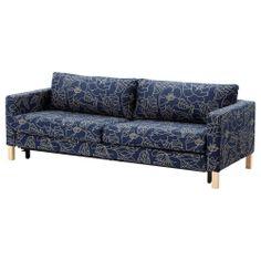 KARLSTAD Sofa bed slipcover - Bladåker blue/beige - IKEA