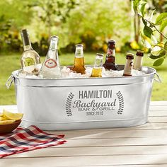 A Personal Creations Exclusive! Raise the bar at your next backyard get-together—our large metal tub is perfect for chilling tons of beverages.
