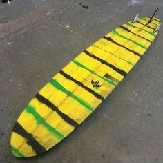 Speed shape stripe tint 9' X 22 X 2 5/8 #stripes #green #yellow #black #longboard #surf #resinart #tint #mat @oxbow @darkseasfrance