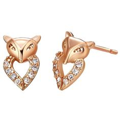 "Fox Platinum Or Gold Plated ""Heart"" Style W/CZ Zircon 925 Silver Setting Stud Earrings"