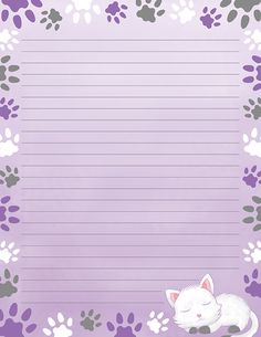 Free printable cat paw print stationery for x 11 paper. Available in JPG or PDF format and in lined and unlined versions. Printable Lined Paper, Free Printable Stationery, Printable Scrapbook Paper, Free Printable Wedding Invitations, Free Printables, Cat Paw Print, Notebook Paper, Borders For Paper, Stationery Paper