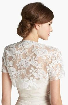 Lace bolero, the perfect topper to a strapless gown.