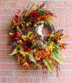 Fall Fox Wreath Large Rustic Autumn Woodland by IrishGirlsWreaths