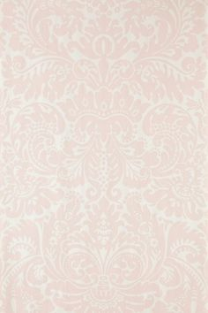 Silvergate (BP 811) - Farrow & Ball Wallpapers - An early 19th century English damask paper. Silvergate's flourishing motif demands attention with its rich flair. Shown here in pretty pale pink water based paints - more colours are available. Please request a sample for true colour match.