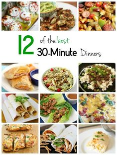 12 of the best 30-Minute Dinners- A list of the most popular and favorite recipes from Food Bloggers.