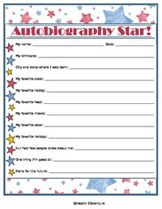 This personal inventory sheet challenges students to think about the things they like, things they are good at, and their plans for the future.Find over 330 learning activities at the Health EDventure store. Writing Activities, Classroom Activities, Teacher Resources, Learning Resources, Teaching Ideas, My Autobiography, Elementary Teacher, Upper Elementary, Social Emotional Learning