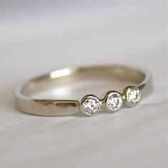 Triple Diamond Band Solid 14K Gold with Three by SamanthaMcIntosh. $370.00 USD, via Etsy.