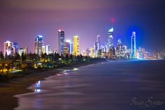 Isaak Schiller Photography    City Lights - Gold Coast City Skyline, Australia Gold Coast Australia, City Lights, New York Skyline, Night, World, Places, Photography, Travel, Hearts