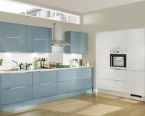 Discover Greenwich kitchens from Howdens for a sleek-looking modern design with a choice of finishes available. Book a free home survey and design service. Blue Kitchen Cupboards, Kitchen Cupboard Colours, Kitchen Units, Kitchen Handles, Wall Cupboards, Kitchen Ware, Island Kitchen, Kitchen Countertops, Kitchen Dining