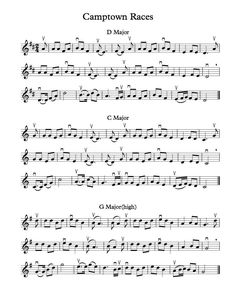 Free Violin Sheet Music – Camptown Races in D, C, G, F, and Bb Major