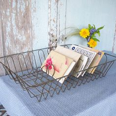 Always a fan of creative re-use. Love the idea of a vintage drying rack for desktop filing.