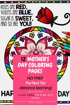 12 Black and white Mother's Day Mandala themed coloring pages in PDF format. Perfect for distance learning. Mothers Day Coloring Pages, Mandala Coloring Pages, Fox Design, Simple Gifts, Elementary Education, Something Beautiful, Distance, Worksheets, Pdf