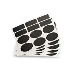 Etiketten mit Kreidefeld 5 Bögen schwarz