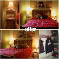 The final makeover.  The Downstairs Queen Bedroom went from bland and sterile to Muskoka Take me Away!