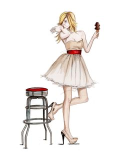 fashion illustration chocolate ice cream
