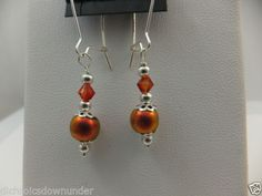 Handmade Dichroic Glass Bead Dangle Earrings with Sterling Silver Wires & Beads by Cheryl