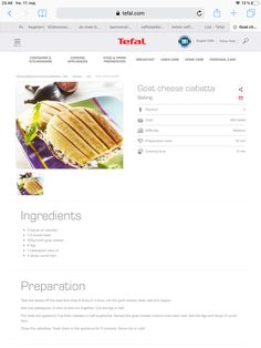 Ciabatta, Goat Cheese, No Cook Meals, Kitchenware, Snacks, Baking, Collection, Food, Tapas Food