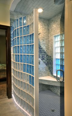 """""""Elegant"""", """"Decorative"""", """"Private"""", """"Maintenance Free"""", and """"Complimentary"""" are just a few descriptions of glass block used for walls and showers. Glass block serves as a space dividertoo, but where drywall and paint is a solid surface treatment; glass block allows ambient light to be shared from room to room making the rooms feel much larger and more inviting. Check out the galleries and see for yourself."""