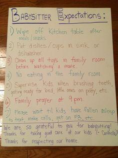 Babysitter-Erwartungen - all about kiddos - Babysitting Babysitting Flyers, Babysitting Activities, Activities For Kids, Activities For Babysitting, Babysitting Classes, Babysitter Checklist, Babysitter Notes, Babysitter Printable, Nanny Binder