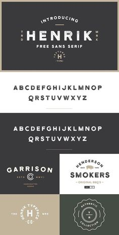 Introducing Henrik - A free sans serif collaboration between Hustle Supply Co.Henrik is extremely versatile and excellent for achieving that vintage aesthetic with your designs. It features textured upper case characters and select punc… Font Design, Web Design, Typography Design, Vector Design, Graphic Design, Creative Typography, Type Design, Typography Poster, Vintage Typography