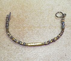 Artisan African Taureg Trade Bead And Picasso Striped Bead Primitive, Earthy, Organic Bracelet