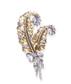 BY FULCO DI VERDURA FOR PAUL FLATO Designed as twin sculpted gold plumes, enhanced by single-cut diamond trim, tied with an old European and single-cut diamond ribbon, mounted in platinum and gold, circa
