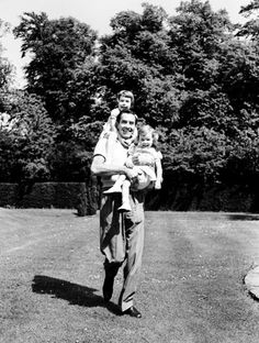"""mysilverscreendream: """" Tyrone Power arriving in England from Hollywood to spend a month with his children, Taryn and Romina. """""""