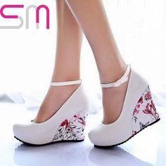Fashion Ankle Strap 2015 High Wedges Platform Summer Pumps For Women Casual Dress Elegant Flower Print Wedges Platform Shoes alishoppbrasil