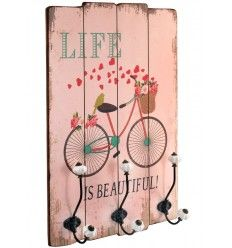 Perchero pared cuadro bici turquesa