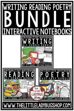 You will love using this bundle of Interactive Notebooks! Included you will find a Writing Interactive Notebook, Reading Interactive Notebook, and Poetry Interactive Notebook. Perfect for 3rd grade, 4th grade, and home school classroom. #writersnotebook #readingnotebook #poetrywriting
