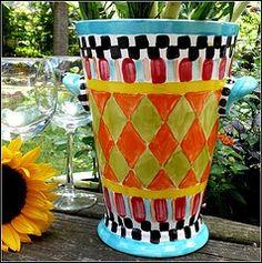 Hand painted ceramic wine bucket/flower vase via MagicMarkingsArt