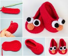 Elmo Crochet Booties Free Pattern