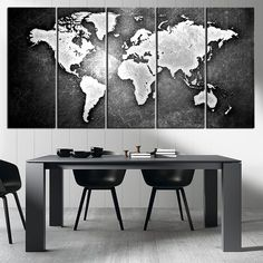 Black and Metalic World Map Canvas Print, Ready to Hang, Framed, Large Wall Art World Map Art,  World Map on Metal Background on Print