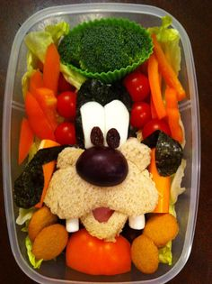 "Ha! Usually there's nothing ""goofy"" about a healthy lunch. This time, though, it is a little Goofy. ;) Food art by Heather Sitarzewski."