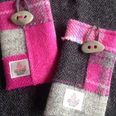 Harris tweed crazy patchwork phone cases with very cool pebble buttons