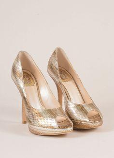Silver and Gold Metallic Snakeskin Peep Toe Pumps