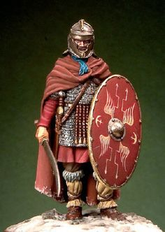 Roman auxiliary soldier - End of II Century A. Not sure why he has a Falx… Military Figures, Military Art, Military Uniforms, European Tribes, Roman Characters, Ancient Armor, Roman Legion, Roman Soldiers, Roman History